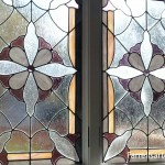 Stained Glass Window White & Purple Flowers