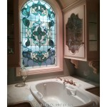 Stained glass window in the bathroom by Farrell's Art Glass