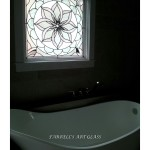 Stained glass window in the bathroom by Ferrell's Art Glass