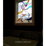 Stained glass window in the bathroom in the contemporary style by Ferrell's Art Glass