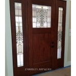 Stained glass windows and door in the Frank Lloyd Wright style by Farrell's Art Glass