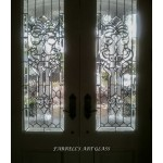 Stained glass windows in French doors by Ferrell's Art Glass