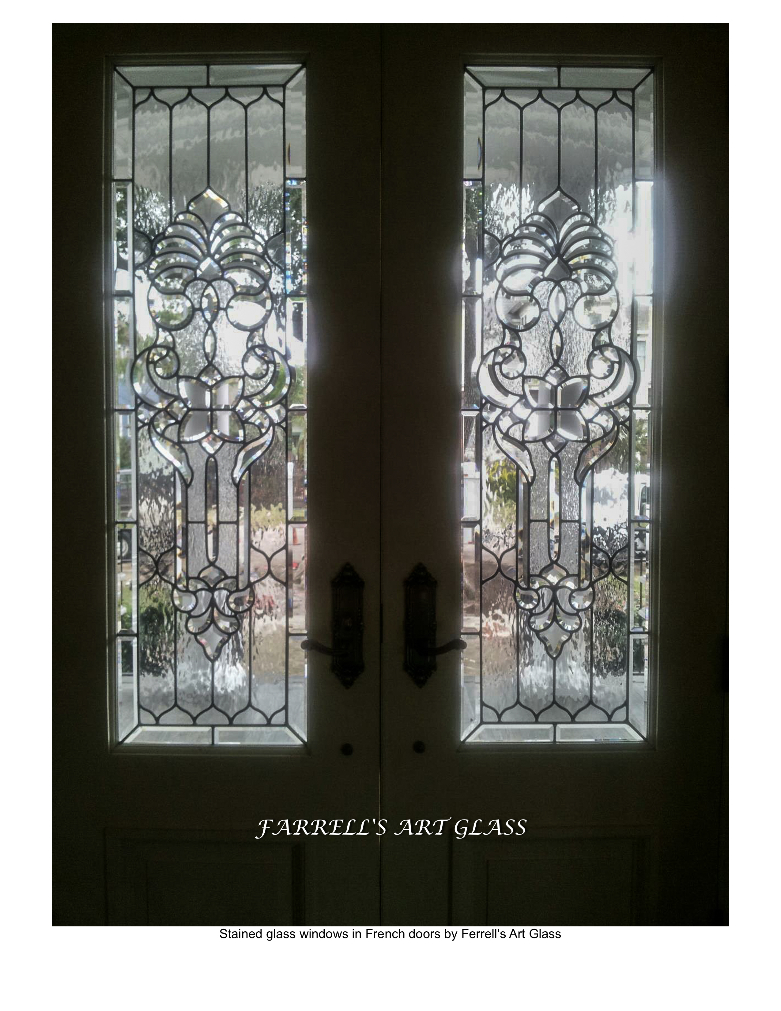 Stained glass windows in french doors by ferrell s art glass for Art glass windows and doors