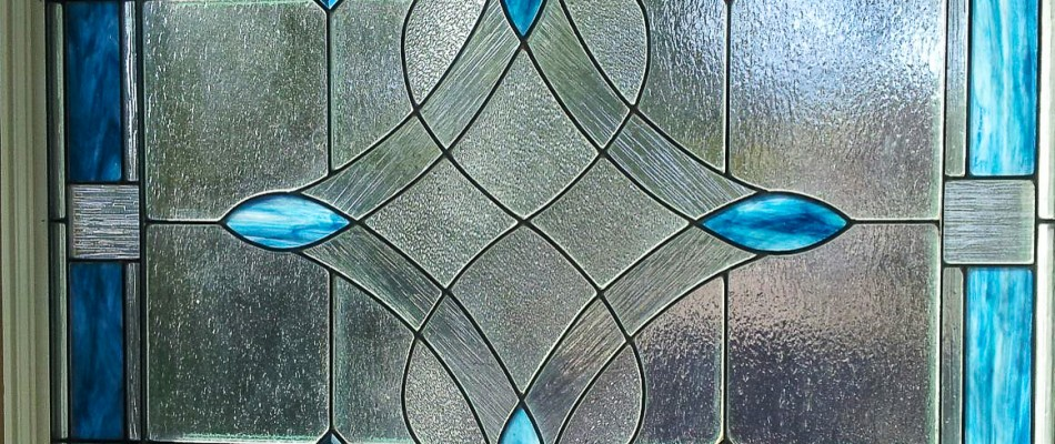 Stained Glass Window in Blue Milk Glass