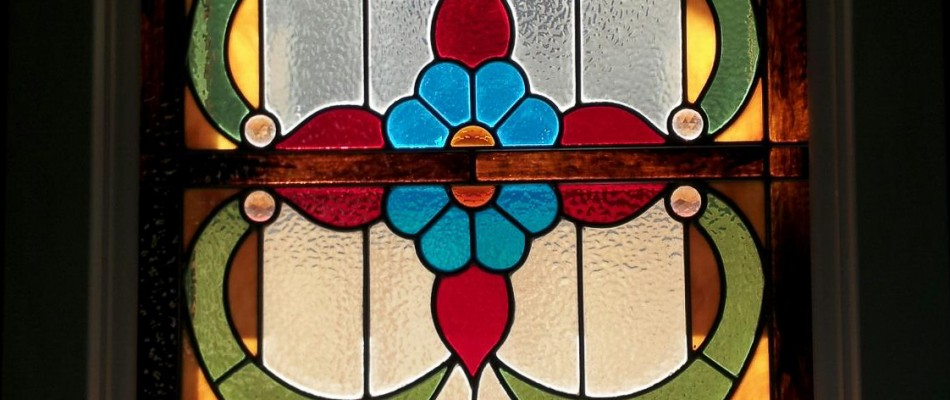 Stained Glass Window with Blue & Orange Flower