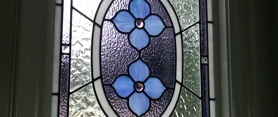 Stained Glass Windows Blue & Purple Flowers