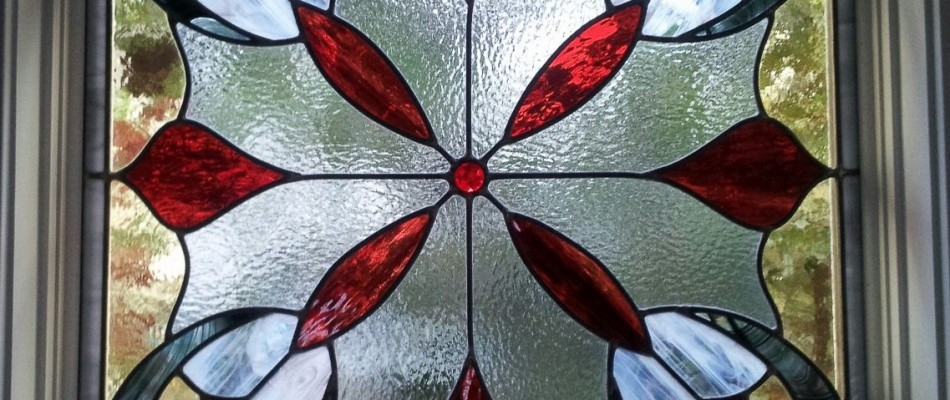 Stained Glass Window in a Red Flower Pattern