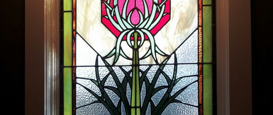 Stained Glass Window in a Thistle Design