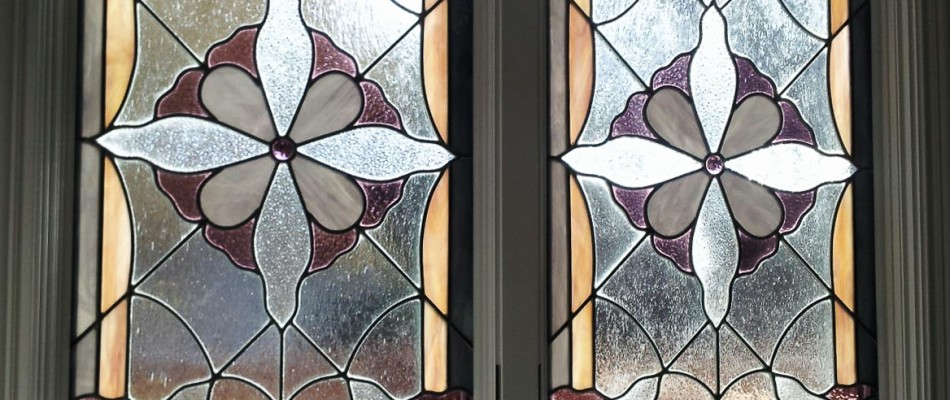 Stained Glass Window in Purple, White & Yellow